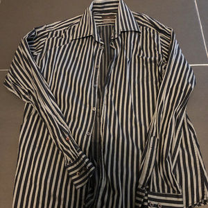 Men's Zara Black/Grey Stripe Dress Shirt Size L